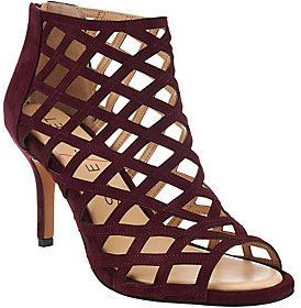 Sole Society As Is Suede Caged High-heeled Sandals -Portia