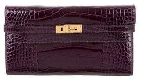 Hermes Shiny Alligator Kelly Longue Wallet - PURPLE - STYLE