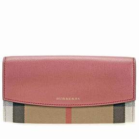 Burberry House Check and Leather Continental Wallet - Cinnamon Red - ONE COLOR - STYLE