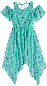 My Michelle Girls 7-16 Cold Shoulder Handkerchief Hem Maxi Dress