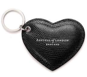 Aspinal of London Heart Key Ring In Jet Black Lizard