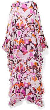 Emilio Pucci Ruffed Printed Silk-georgette Maxi Dress - Pink