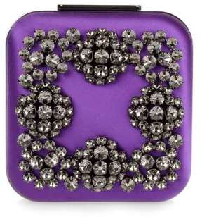 Manolo Blahnik Hangi Petunia purple crystal silk clutch