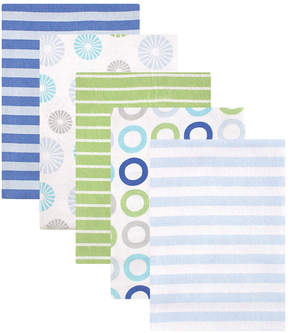 Luvable Friends Blue Stripe & White Ring Flannel Receiving Blanket Set