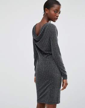 B.young Silver Lurex Dress with Cowl Back