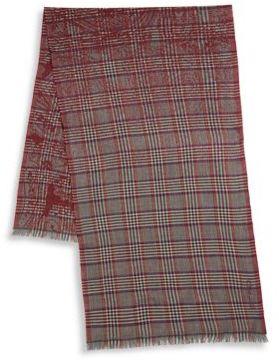 Etro Glen Plaid Wool Scarf