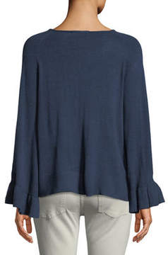 Chelsea & Theodore Ruffle-Sleeve Pullover Sweater