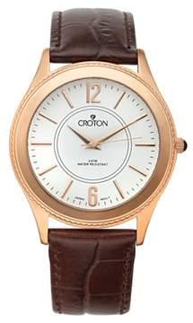 Croton Men's Stainless Rosetone Dress Watch w/White Dial & Brown Leather Strap