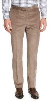 Isaia Corduroy Flat-Front Trousers, Tan