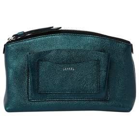 Lancel Green Leather Clutch Bag