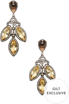 Artisan Women's 18K Gold, Smoky Quartz, Citrine & 3.10 Total Ct. Diamond Marquis Drop Earrings