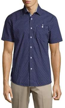 Report Collection Polka-Dot Cotton Button-Down Shirt