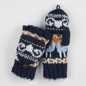 World Market Navy Wool Ram Convertible Gloves
