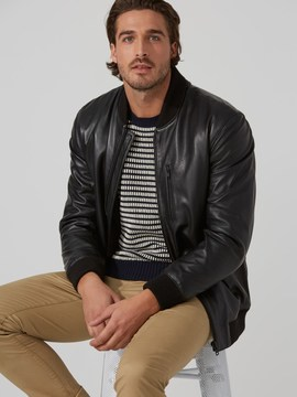 Frank and Oak Leather Bomber Jacket in Black