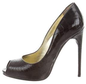 Tom Ford Alligator Peep-Toe Pumps