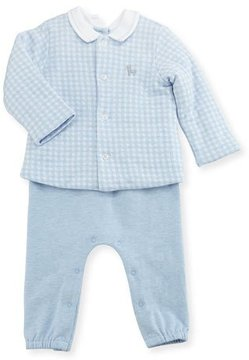 Mayoral Mock-Shirt Overalls w/ Check Jacket, Size 1-12 Months