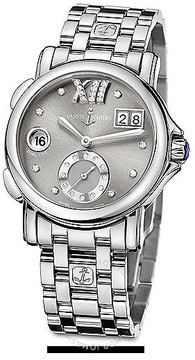 Ulysse Nardin GMT Big Date Grey Dial Stainless Steel Automatic Ladies Watch 243-22-7-30-02