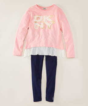 DKNY Peony Pink 'DKNY' Tunic & Blue Jeans - Infant, Toddler & Girls