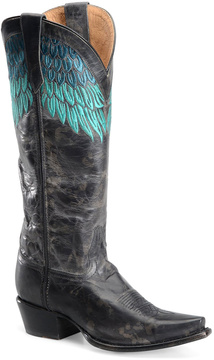 Sonora Gray & Turquoise Leather Cowboy Boot