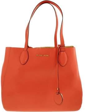 Michael Kors Women's Large Mae Soft Leather Carryall Shoulder Bag Tote - Pink Grapefruit/Pale Gold - PINK GRAPEFRUIT/PALE GOLD - STYLE
