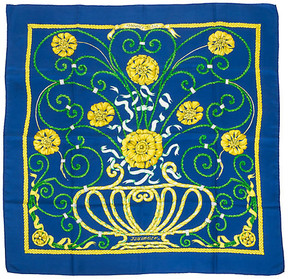One Kings Lane Vintage HermAs Blue Jounce Silk Scarf - Vintage Lux