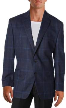 Lauren Ralph Lauren Mens Wool Plaid Two-Button Blazer