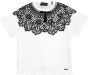 DSQUARED2 Lace Printed Cotton Jersey T-Shirt