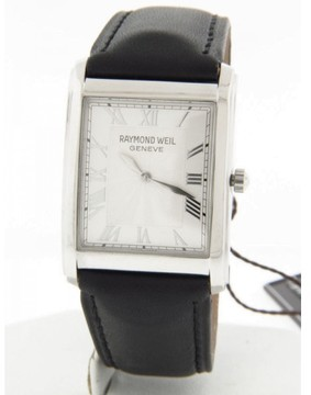 Raymond Weil 9973 Don Giovanni Square Case Silver Dial Black Leather Mens Watch