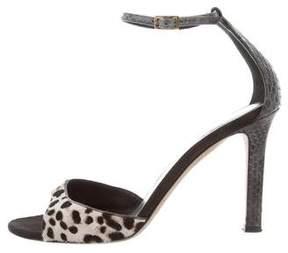 Tamara Mellon Snakeskin-Accented Ponyhair Sandals