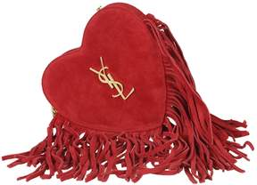 Saint Laurent Red Small Heart Fringed Crossbody - RED - STYLE