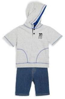 Joe's Jeans Little Boy's Two-Piece Heathered Hoodie and Denim Shorts Set