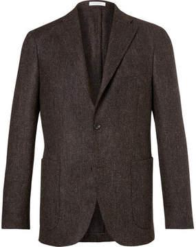 Boglioli Brown Slim-Fit Herringbone Slub Virgin Wool Blazer