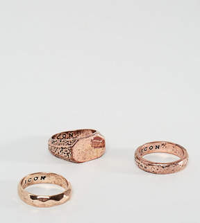 ICON BRAND Copper Band & Signet Rings In 3 Pack