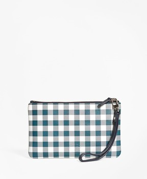 Brooks Brothers Gingham Leather Wristlet
