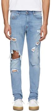 Diesel Blue Distressed Deep Zip Jeans