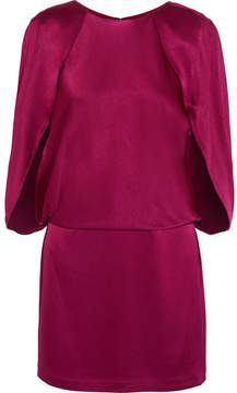 Halston Cape-effect Satin Mini Dress - Plum