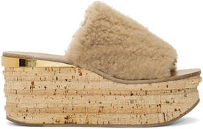 Chloé Beige Shearling Camille Sandals