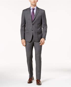 DKNY Men's Slim-Fit Medium Gray Glen Plaid Wool Suit