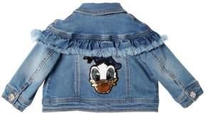 MonnaLisa Donald Duck Patch Stretch Denim Jacket