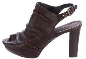 Henry Beguelin Leather Peep-Toe Boots