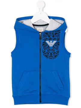 Emporio Armani Kids printed zip-up hooded vest