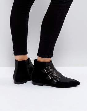 Pieces Suede Buckle Ankle Boots