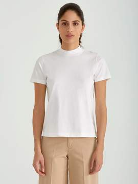 Frank and Oak Mock Neck Tee in Bright White