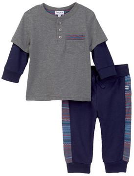Splendid Layered Look Henley & Jogger Pants Set (Baby Boys)