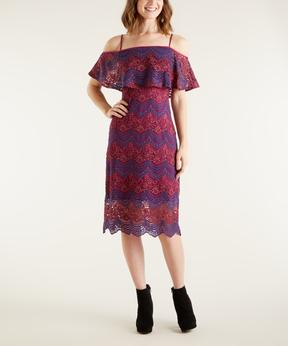 Bebe Lavender & Red Lace Ruffle Off-Shoulder Dress
