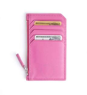 Royce Leather Royce Bright Pink Zippered Credit Card Wallet