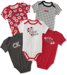 Calvin Klein 5-Pk. Floral & Houndstooth Bodysuits, Baby Girls (0-24 months)