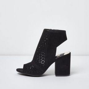 River Island Womens Black laser cut peep toe shoe boots