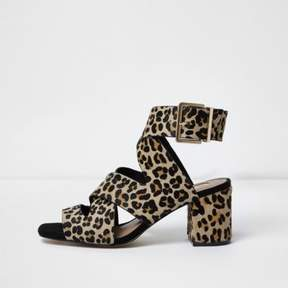 River Island Womens Brown leopard print pony hair sandals