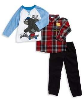Nannette Boy's Plaid Sportshirt, Bear Graphic Top and Pants Set